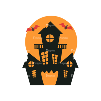 Flat Halloween Scrapbooking Set 1 Vector Haunted House Clip Art - SVG & PNG vector