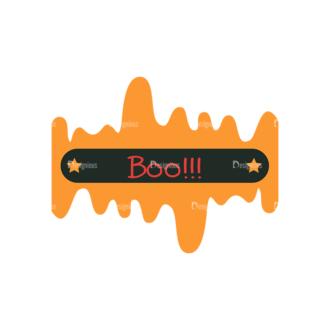 Flat Halloween Scrapbooking Set 1 Vector Ticket 07 Clip Art - SVG & PNG vector