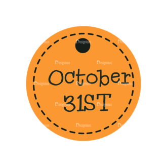 Flat Halloween Scrapbooking Set 1 Vector Ticket 15 Clip Art - SVG & PNG vector