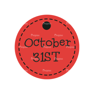 Flat Halloween Scrapbooking Set 1 Vector Ticket 16 Clip Art - SVG & PNG vector