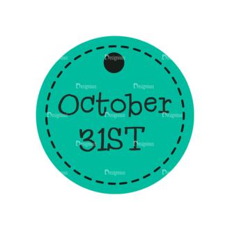 Flat Halloween Scrapbooking Set 1 Vector Ticket 17 Clip Art - SVG & PNG vector