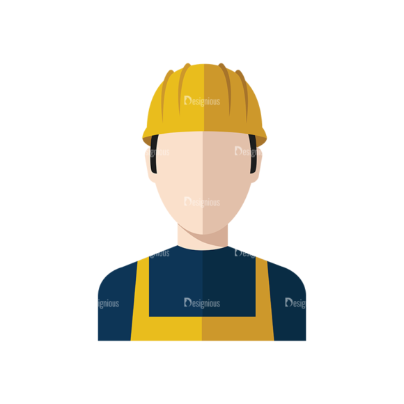 Flat Icons Professions Vector Set 1 Vector Construction Worker 5