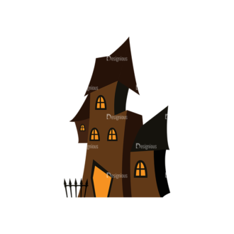 Halloween Vector Elements Set 2 Vector Haunted House Clip Art - SVG & PNG vector