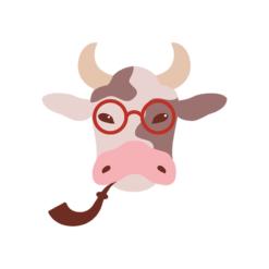 Hipster Animals Vector 2 Vector Cow Clip Art vector
