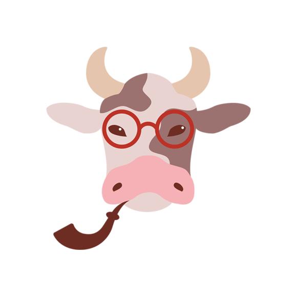 Hipster Animals Vector 2 Vector Cow hipster animals vector set 2 vector cow