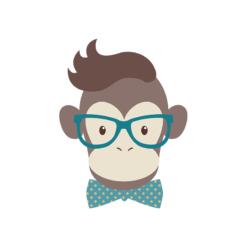 Hipster Animals Vector 2 Vector Monkey Clip Art vector