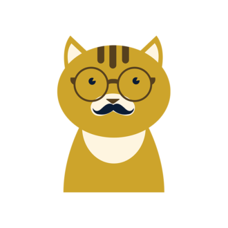 Hipster Animals Vector 3 Vector Cat 01 Clip Art - SVG & PNG vector