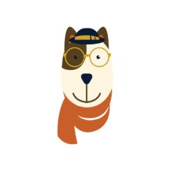 Hipster Animals Vector 3 Vector Dog Clip Art vector