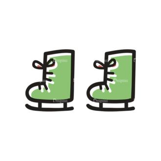 Merry Christmas Doodle Vector Set 7 Vector Ice Skates Clip Art - SVG & PNG vector