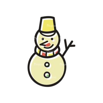 Merry Christmas Doodle Vector Set 7 Vector Snowman Clip Art - SVG & PNG vector