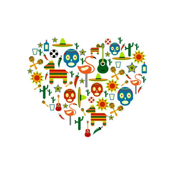 Mexico Love Heart Vector Set 1 Vector Heart 1
