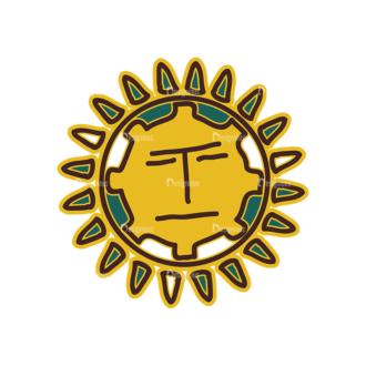 Aztec Elements Sun Clip Art - SVG & PNG vector