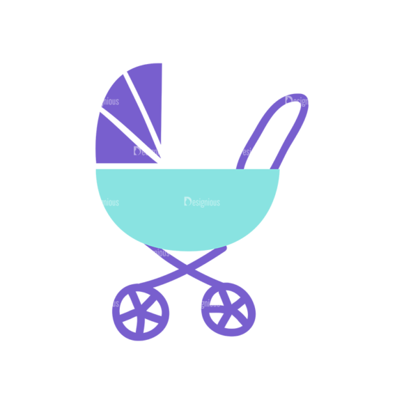 Baby Shower Baby Stroller Preview Clip Art - SVG & PNG vector