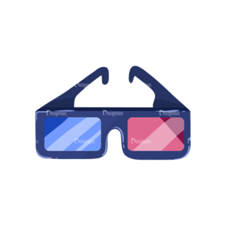 Cinema 3D Glasses Preview Clip Art - SVG & PNG vector