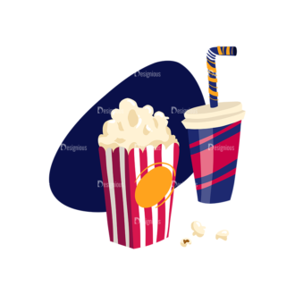 Cinema Juice And Popcorn Preview Clip Art - SVG & PNG vector