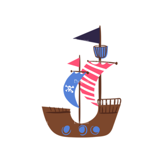 Pirate Set Pirate Boat Preview Clip Art - SVG & PNG vector