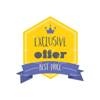 Simple Badges Exclusive Offer Clip Art - SVG & PNG vector