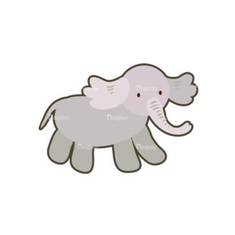 Cartoon Animals Vector Set 1 Vector Elephant Clip Art - SVG & PNG vector