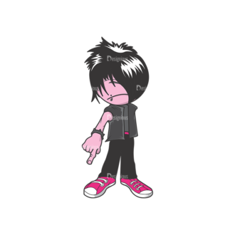 Emo Kids Pack 1 3 Preview Clip Art - SVG & PNG vector