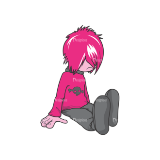 Emo Kids Pack 1 6 Preview Clip Art - SVG & PNG vector
