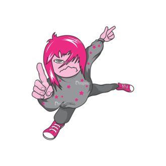 Emo Kids Pack 2 4 Preview Clip Art - SVG & PNG vector