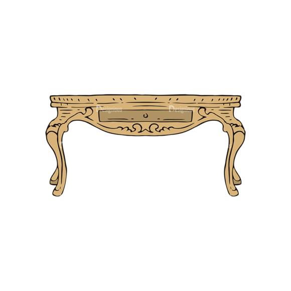 Engraved Vintage Furniture Vector Set 1 Vector Table 5