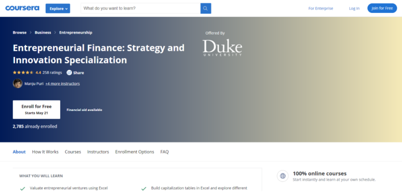Entrepreneurial Finance: Strategy and Innovation Specialization