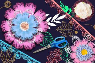 DIY Paper Flowers Kit Vector packs leaf