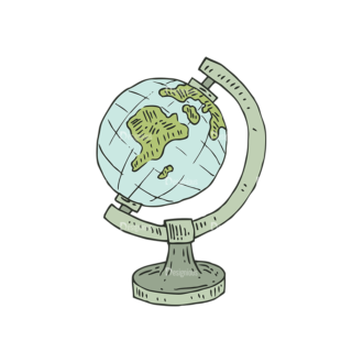Hand Drawn School Vector Set 1 Vector Globe Clip Art - SVG & PNG vector