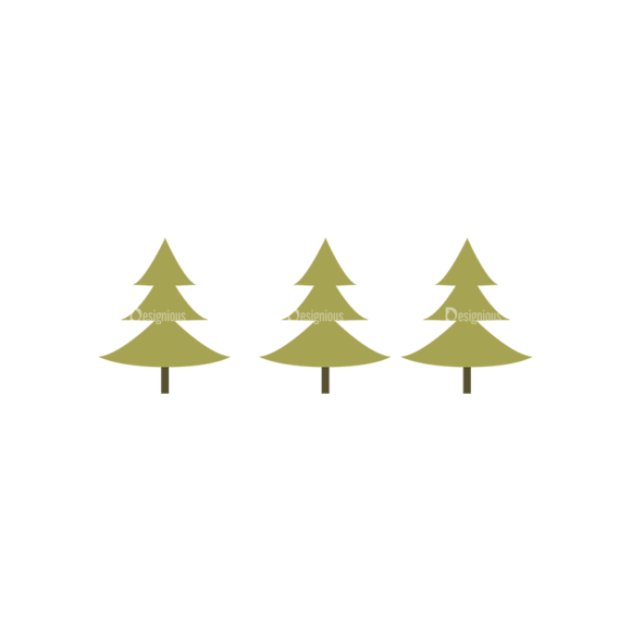 Hiking Equipment Vector Infographics Vector Pine Trees 1