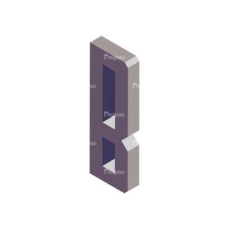 Isometric Alphabet Vector B Clip Art - SVG & PNG vector