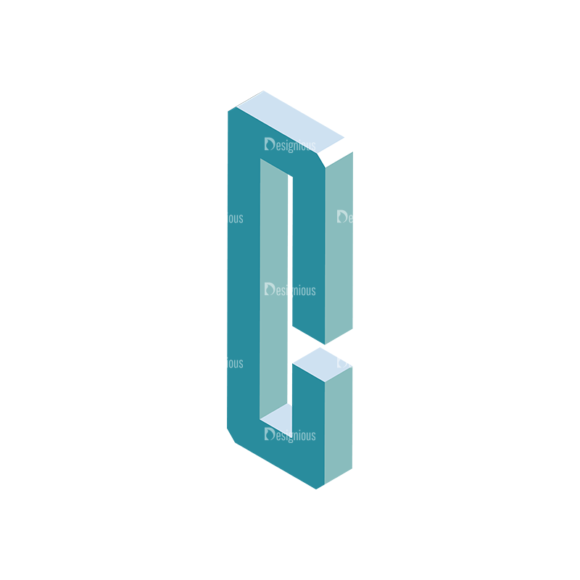 Isometric Alphabet Vector C Clip Art - SVG & PNG vector