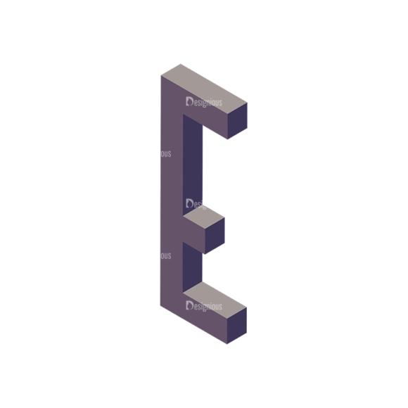 Isometric Alphabet Vector E isometric alphabet vector E