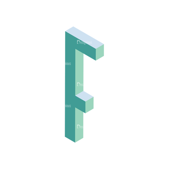 Isometric Alphabet Vector F Clip Art - SVG & PNG vector