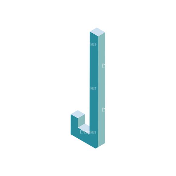 Isometric Alphabet Vector J isometric alphabet vector J