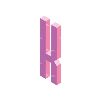 Isometric Alphabet Vector K Clip Art - SVG & PNG vector