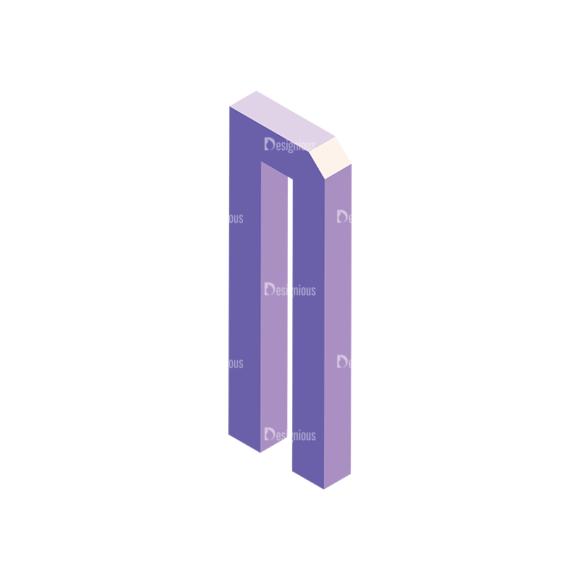 Isometric Alphabet Vector N isometric alphabet vector N