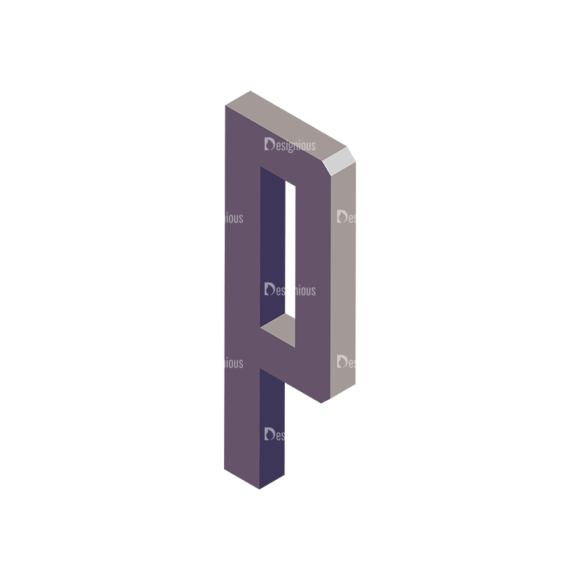 Isometric Alphabet Vector P Clip Art - SVG & PNG vector