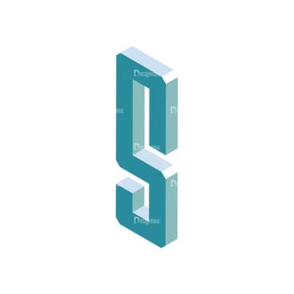 Isometric Alphabet Vector S Clip Art - SVG & PNG vector