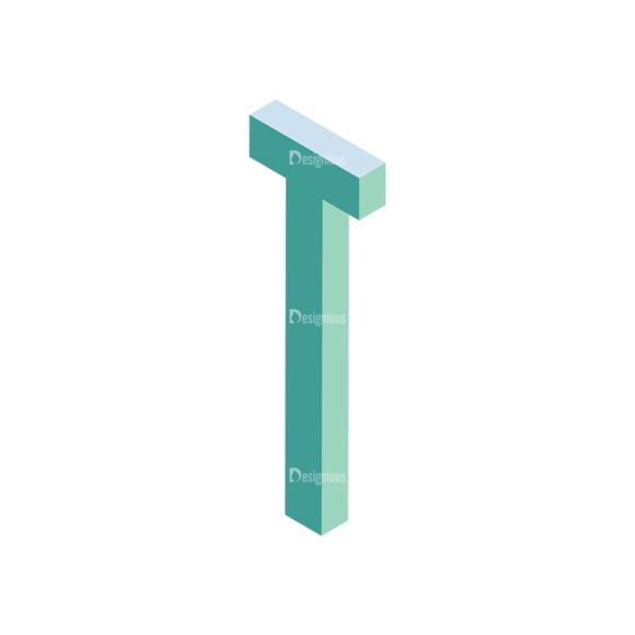 Isometric Alphabet Vector T isometric alphabet vector T