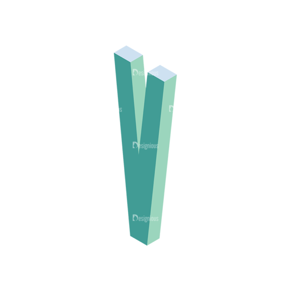 Isometric Alphabet Vector V Clip Art - SVG & PNG vector