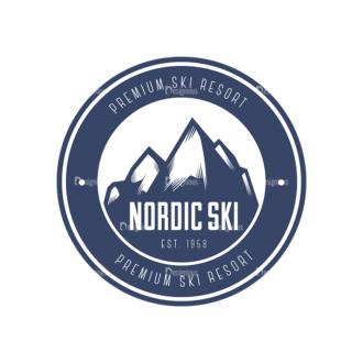 Nordic Skiing Elements Vector Set 3 Vector Logo 01 Clip Art - SVG & PNG vector