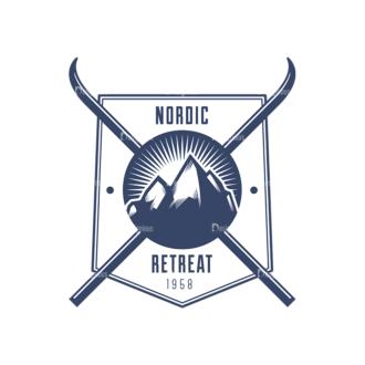 Nordic Skiing Elements Vector Set 3 Vector Logo 04 Clip Art - SVG & PNG vector