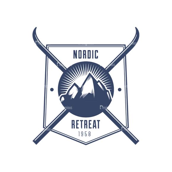 Nordic Skiing Elements Vector Set 3 Vector Logo 04 nordic skiing elements vector set 3 vector logo 04