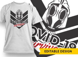 Covid19 Survivor T-shirt Designs and Templates vector
