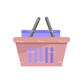 Shopping Flat Vector Set 1 Vector Basket Clip Art - SVG & PNG vector