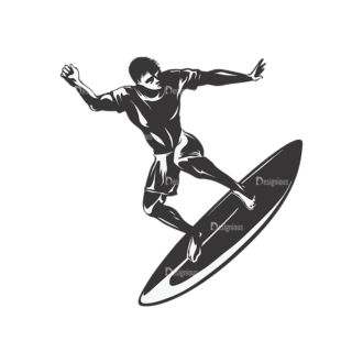 Surfer Silhouettes Pack 2 5 Preview Clip Art - SVG & PNG vector
