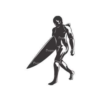 Surfer Silhouettes Pack 2 6 Preview Clip Art - SVG & PNG vector