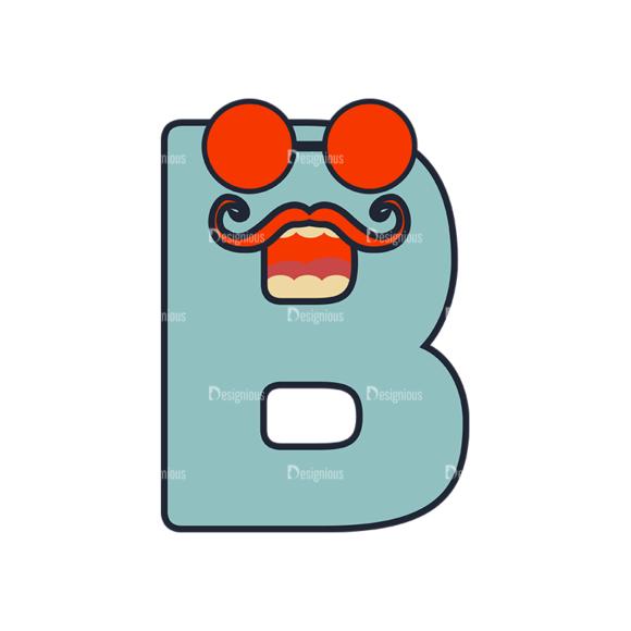 Typographic Characters Vector Set 6 Vector B Clip Art - SVG & PNG vector