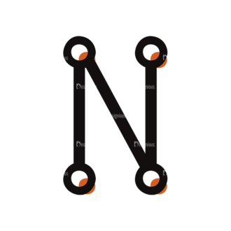 Typographic Characters Vector Set 7 Vector N Clip Art - SVG & PNG vector